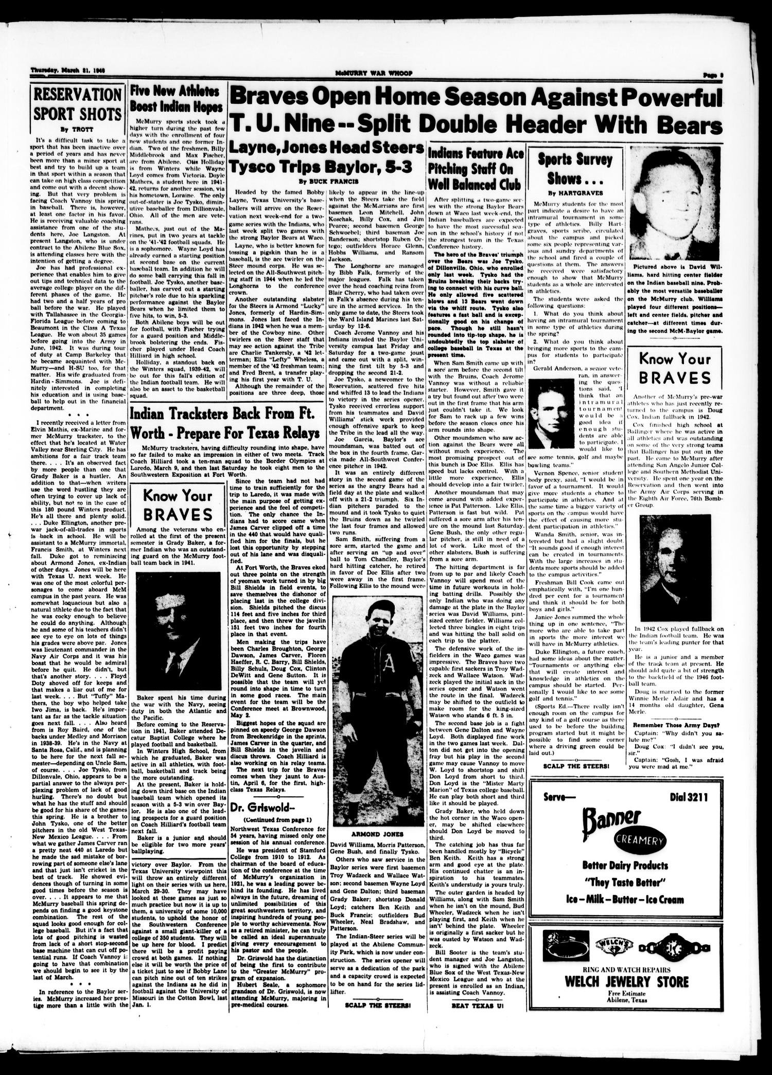 McMurry War Whoop (Abilene, Tex.), Vol. 23, No. 12, Ed. 1, Thursday, March 21, 1946                                                                                                      [Sequence #]: 3 of 4