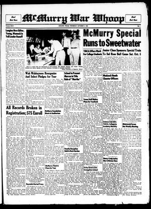 Primary view of McMurry War Whoop (Abilene, Tex.), Vol. 24, No. 1, Ed. 1, Thursday, October 3, 1946