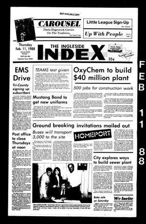 Primary view of The Ingleside Index (Ingleside, Tex.), Vol. 39, No. 1, Ed. 1 Thursday, February 11, 1988