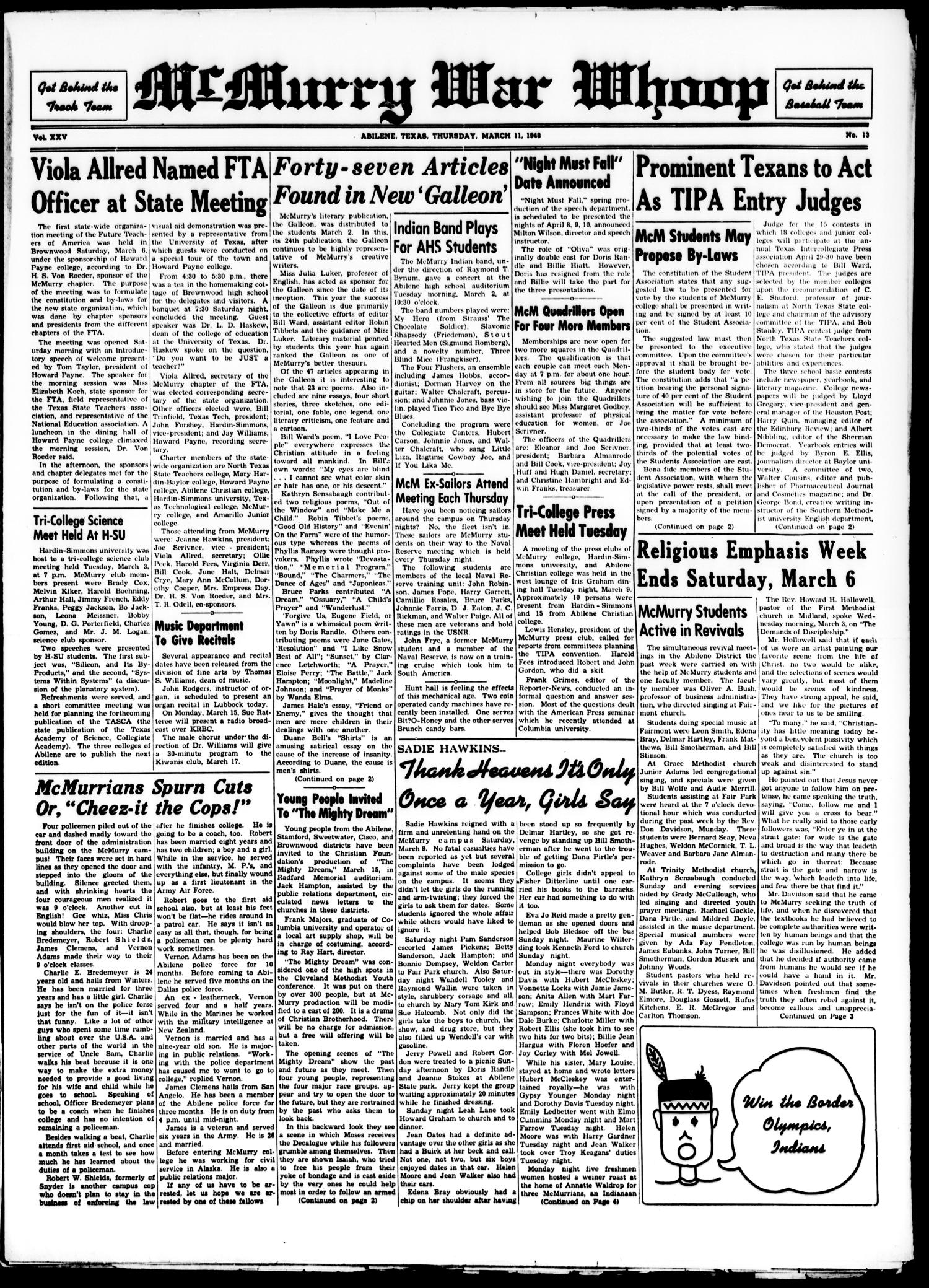 McMurry War Whoop (Abilene, Tex.), Vol. 25, No. 13, Ed. 1, Thursday, March 11, 1948                                                                                                      [Sequence #]: 1 of 4