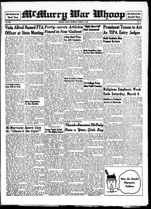 McMurry War Whoop (Abilene, Tex.), Vol. 25, No. 13, Ed. 1, Thursday, March 11, 1948