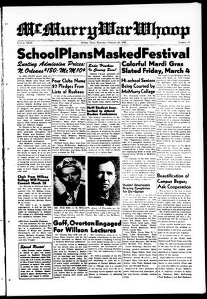 Primary view of McMurry War Whoop (Abilene, Tex.), Vol. 26, No. 19, Ed. 1, Thursday, February 24, 1949