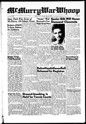 Primary view of McMurry War Whoop (Abilene, Tex.), Vol. 26, No. 29, Ed. 1, Thursday, May 12, 1949