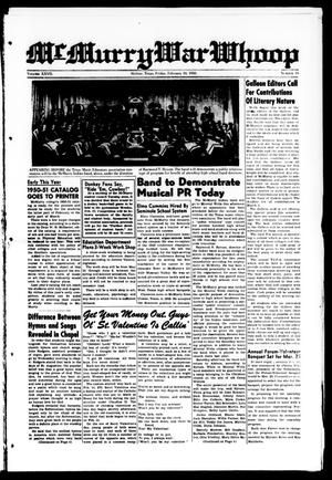 McMurry War Whoop (Abilene, Tex.), Vol. 27, No. 19, Ed. 1, Friday, February 10, 1950