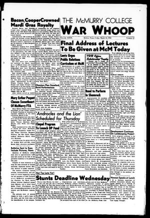 The McMurry College War Whoop (Abilene, Tex.), Vol. 27, No. 23, Ed. 1, Friday, March 10, 1950