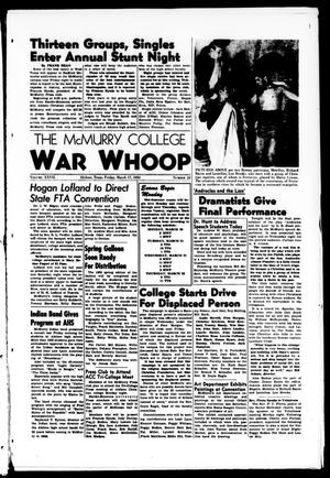 Primary view of object titled 'The McMurry College War Whoop (Abilene, Tex.), Vol. 27, No. 24, Ed. 1, Friday, March 17, 1950'.