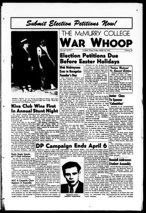 Primary view of object titled 'The McMurry College War Whoop (Abilene, Tex.), Vol. 27, No. 25, Ed. 1, Friday, March 31, 1950'.
