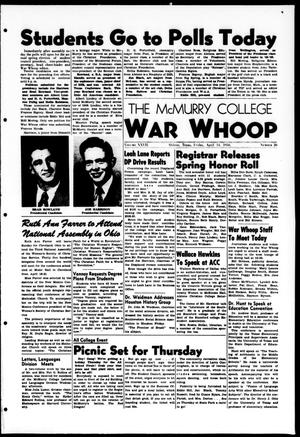 Primary view of object titled 'The McMurry College War Whoop (Abilene, Tex.), Vol. 27, No. 26, Ed. 1, Friday, April 14, 1950'.