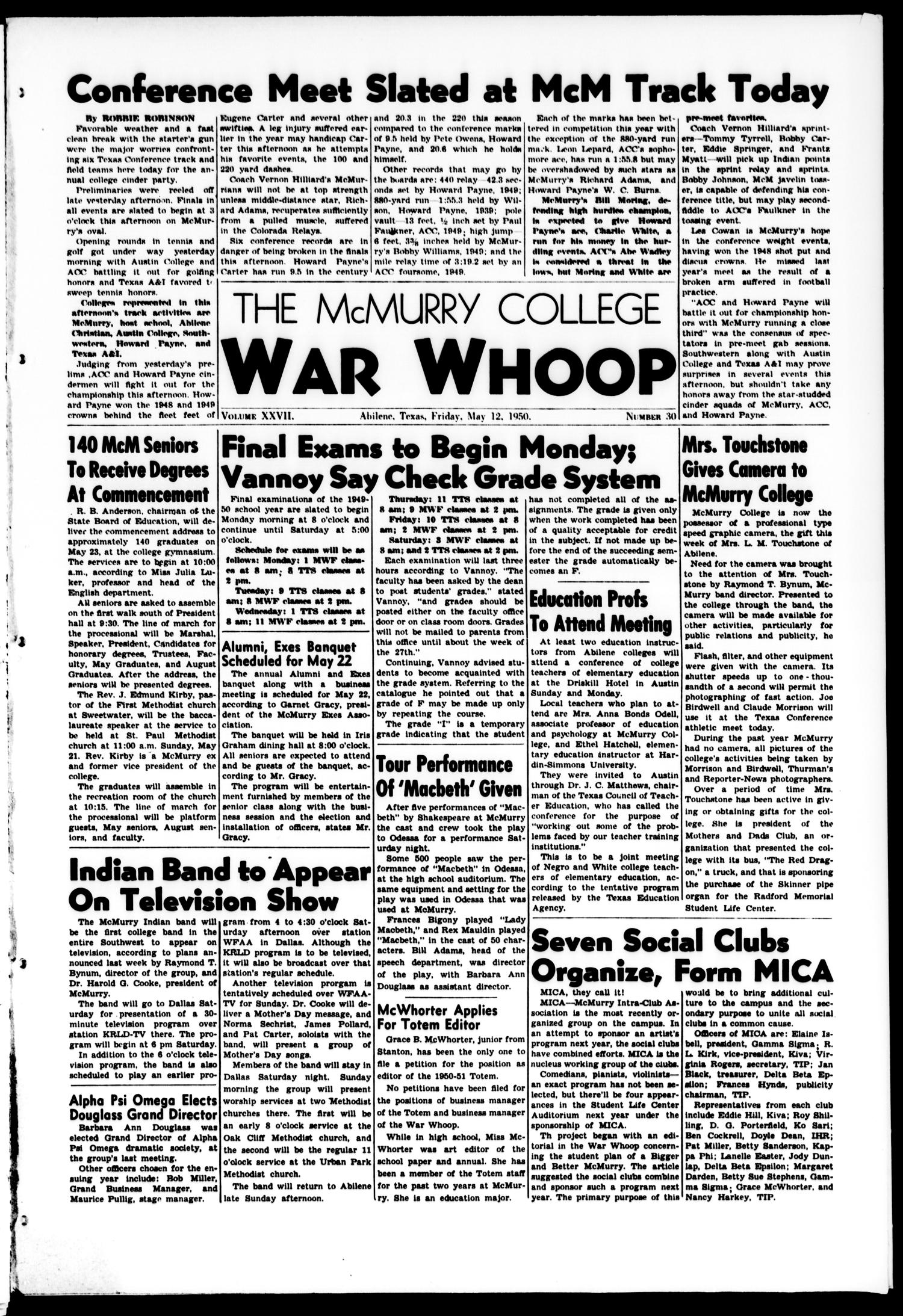 The McMurry College War Whoop (Abilene, Tex.), Vol. 27, No. 30, Ed. 1, Friday, May 12, 1950                                                                                                      [Sequence #]: 1 of 6