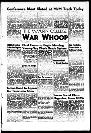 Primary view of object titled 'The McMurry College War Whoop (Abilene, Tex.), Vol. 27, No. 30, Ed. 1, Friday, May 12, 1950'.