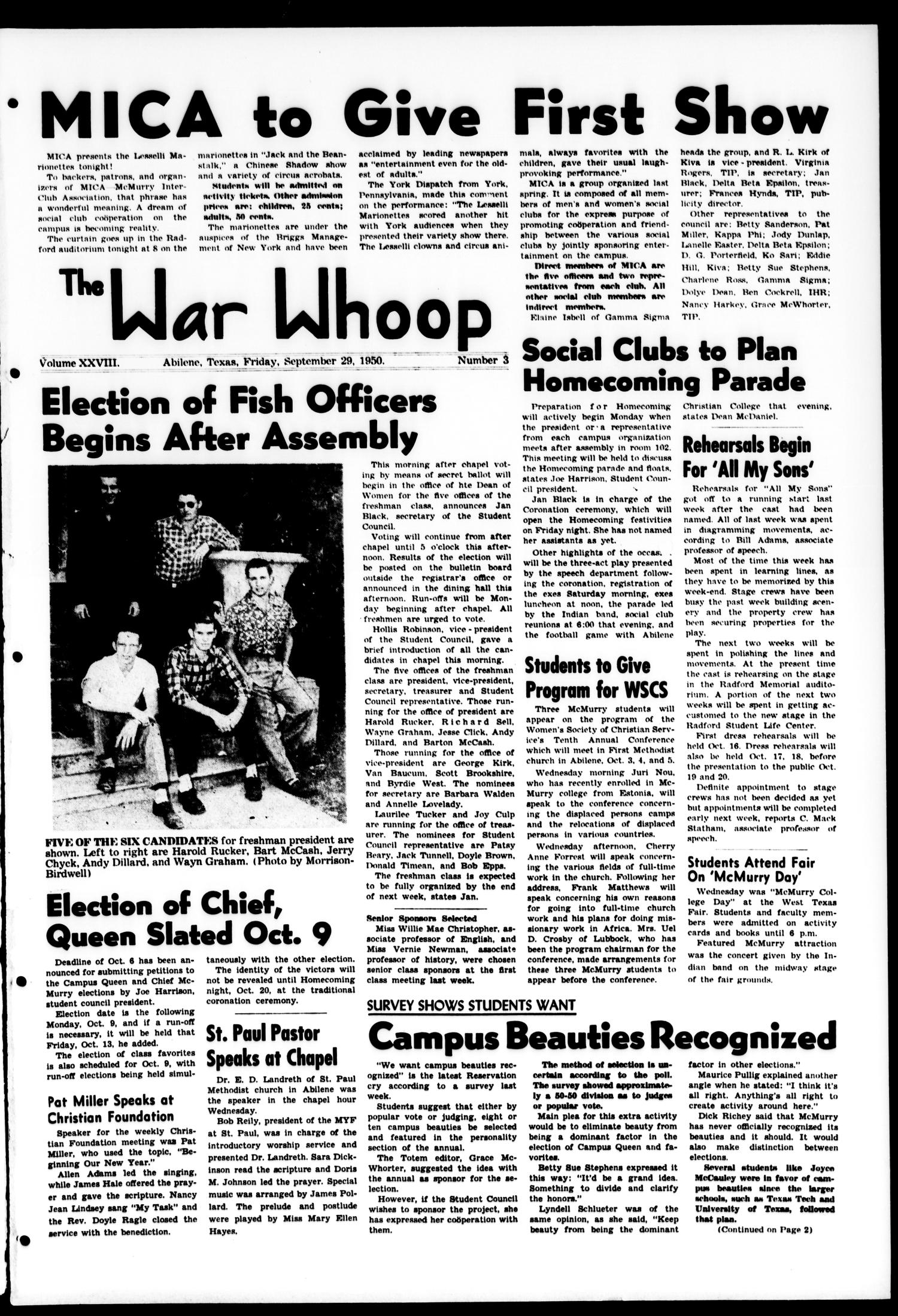 The War Whoop (Abilene, Tex.), Vol. 28, No. 3, Ed. 1, Friday, September 29, 1950                                                                                                      [Sequence #]: 1 of 6