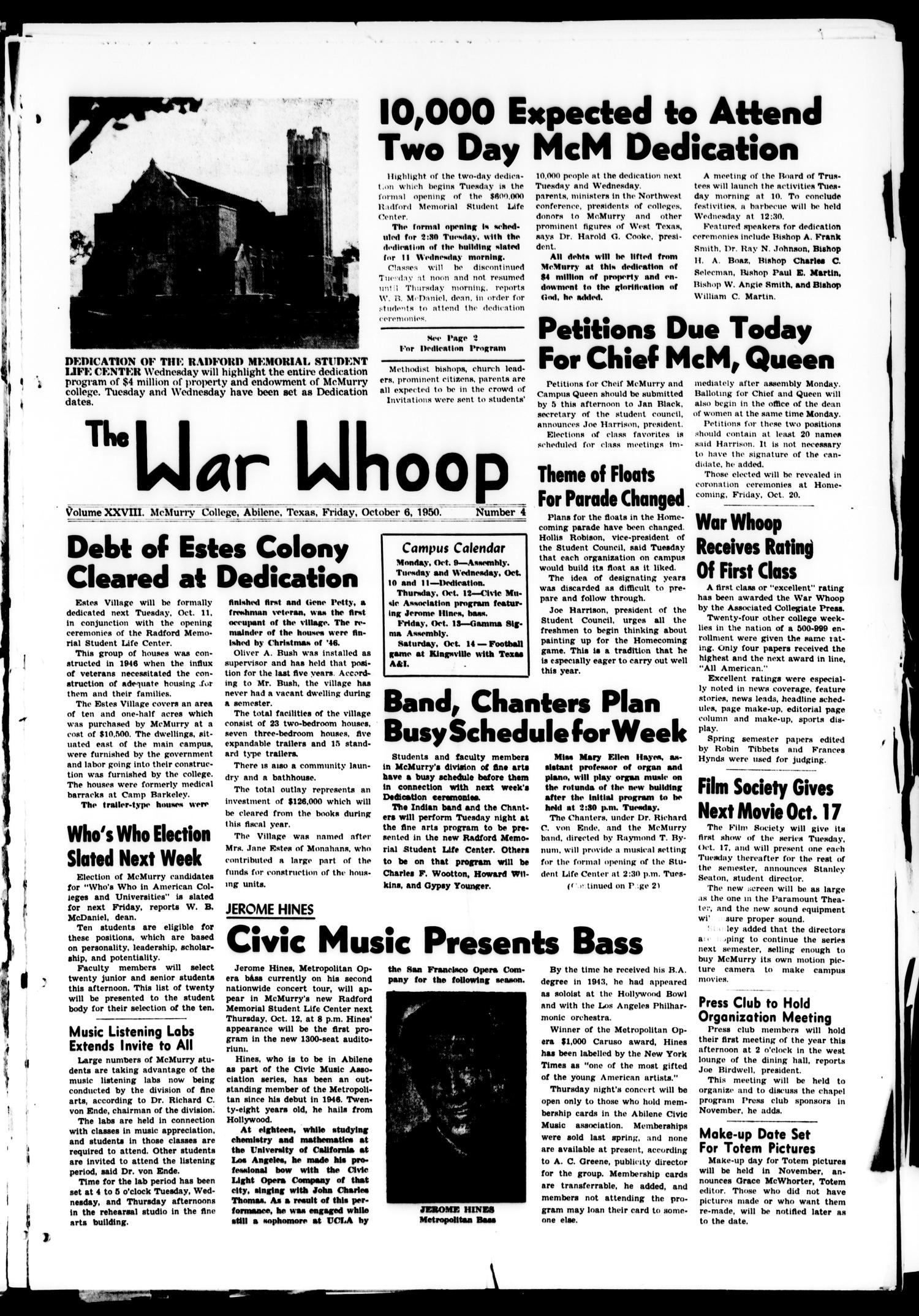 The War Whoop (Abilene, Tex.), Vol. 28, No. 4, Ed. 1, Friday, October 6, 1950                                                                                                      [Sequence #]: 1 of 6