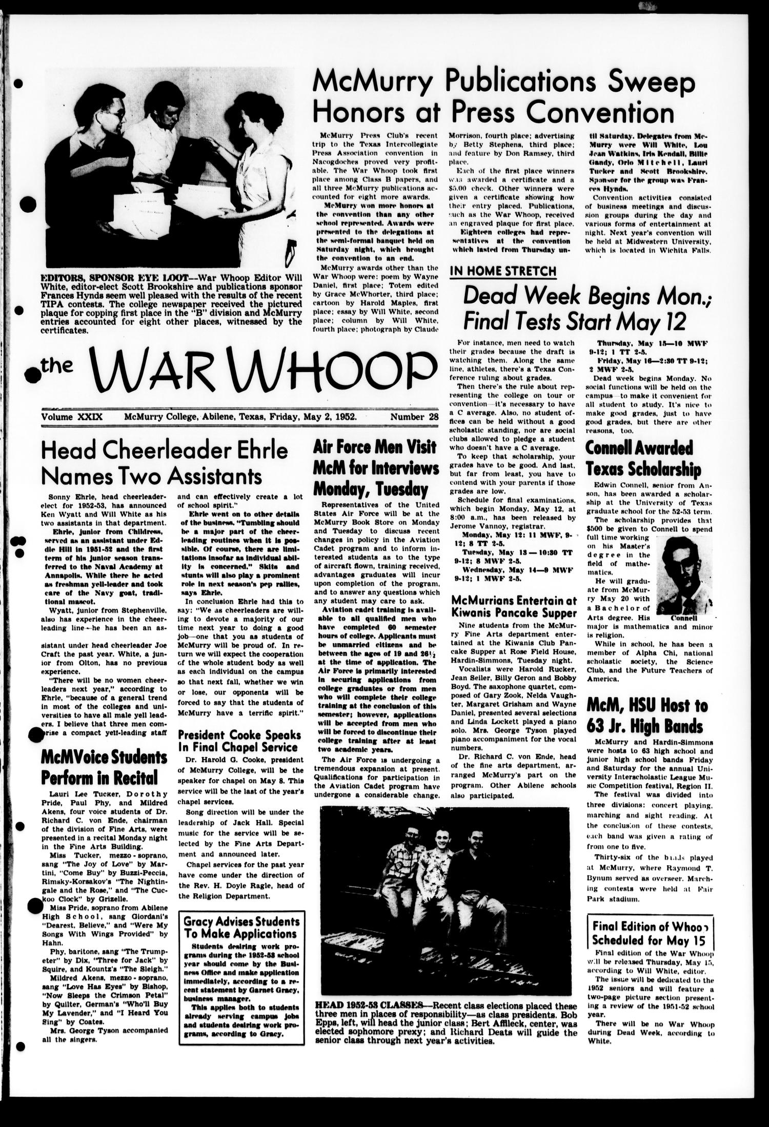 The War Whoop (Abilene, Tex.), Vol. 29, No. 28, Ed. 1, Friday, May 2, 1952                                                                                                      [Sequence #]: 1 of 4