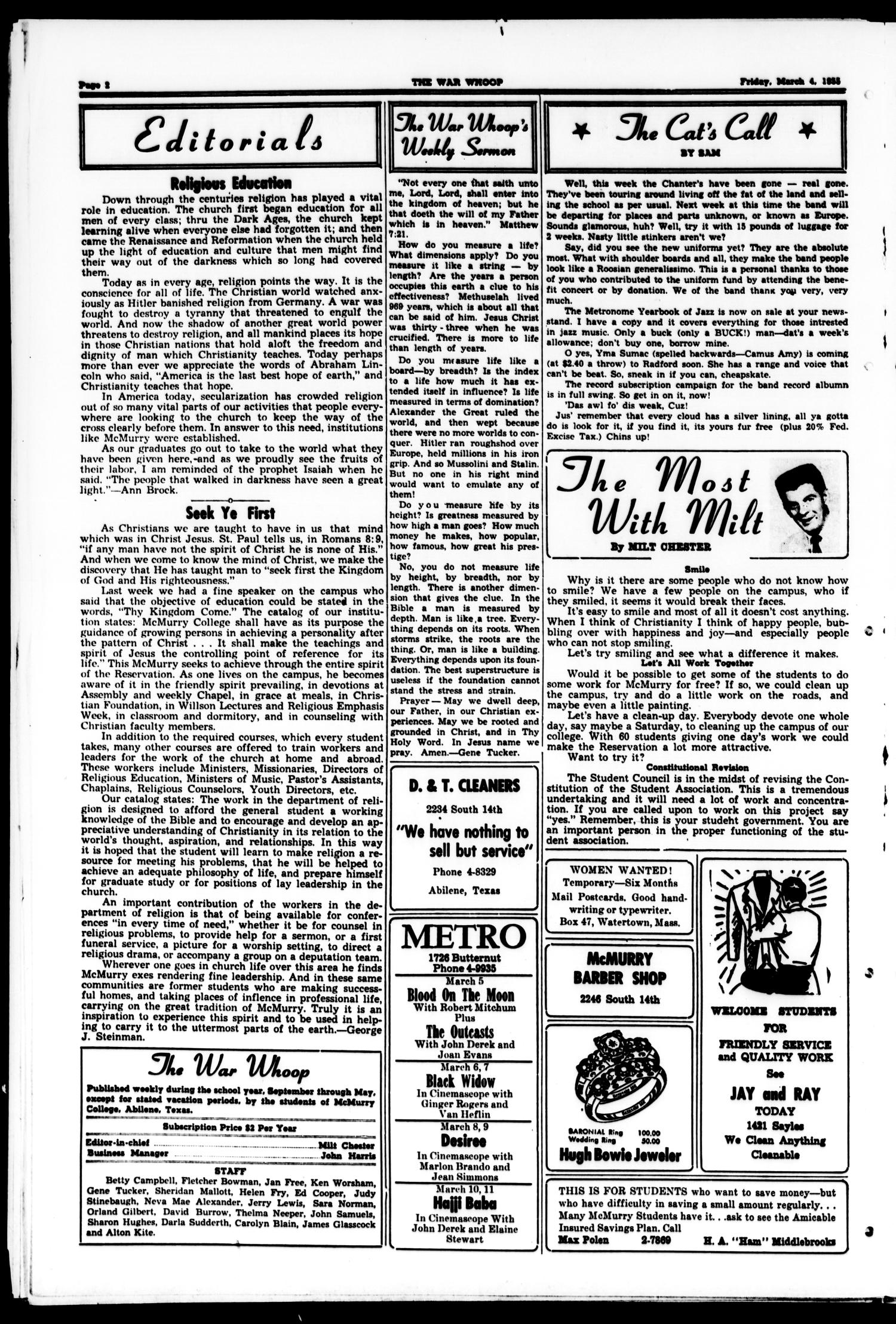 The War Whoop (Abilene, Tex.), Vol. 32, No. 20, Ed. 1, Friday, March 4, 1955                                                                                                      [Sequence #]: 2 of 4