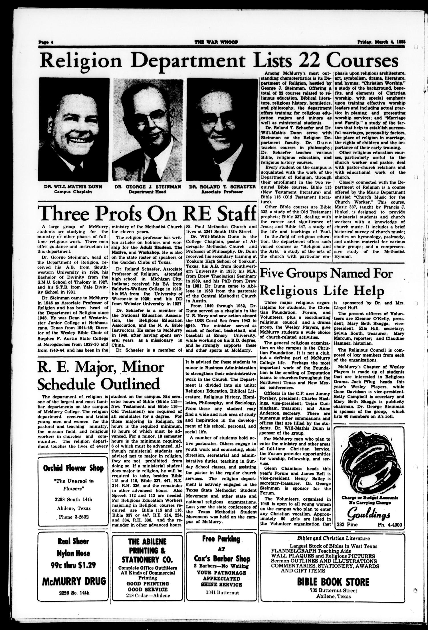 The War Whoop (Abilene, Tex.), Vol. 32, No. 20, Ed. 1, Friday, March 4, 1955                                                                                                      [Sequence #]: 4 of 4