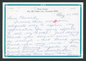 Primary view of object titled '[Postcard from Doris Tanner to Rigdon Edwards, May 28, 1993]'.