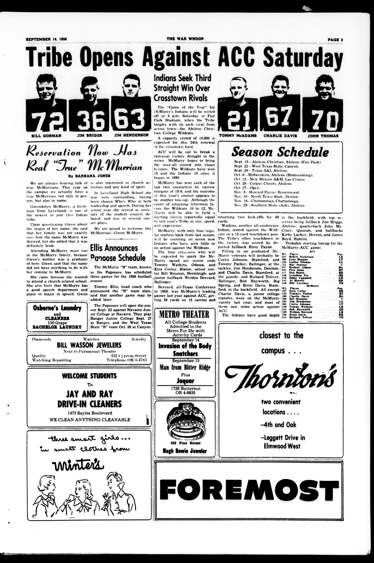The War Whoop (Abilene, Tex.), Vol. 34, No. 1, Ed. 1, Friday, September 14, 1956                                                                                                      [Sequence #]: 3 of 4