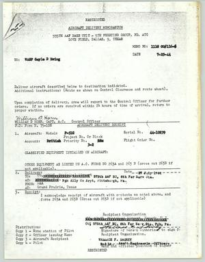 Primary view of object titled '[Aircraft Delivery Memorandum #3]'.