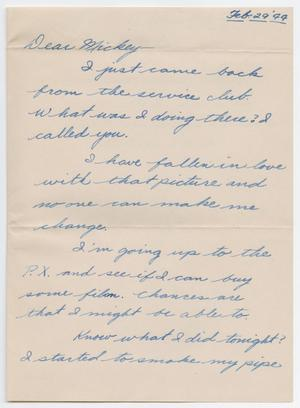 Primary view of object titled '[Letter from Howard Stevens to Mickey McLernon, February 29, 1944]'.