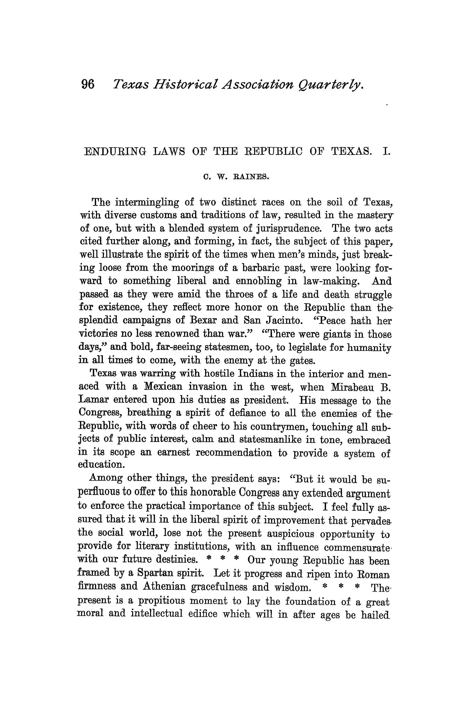 The Quarterly of the Texas State Historical Association, Volume 1, July 1897 - April, 1898                                                                                                      96