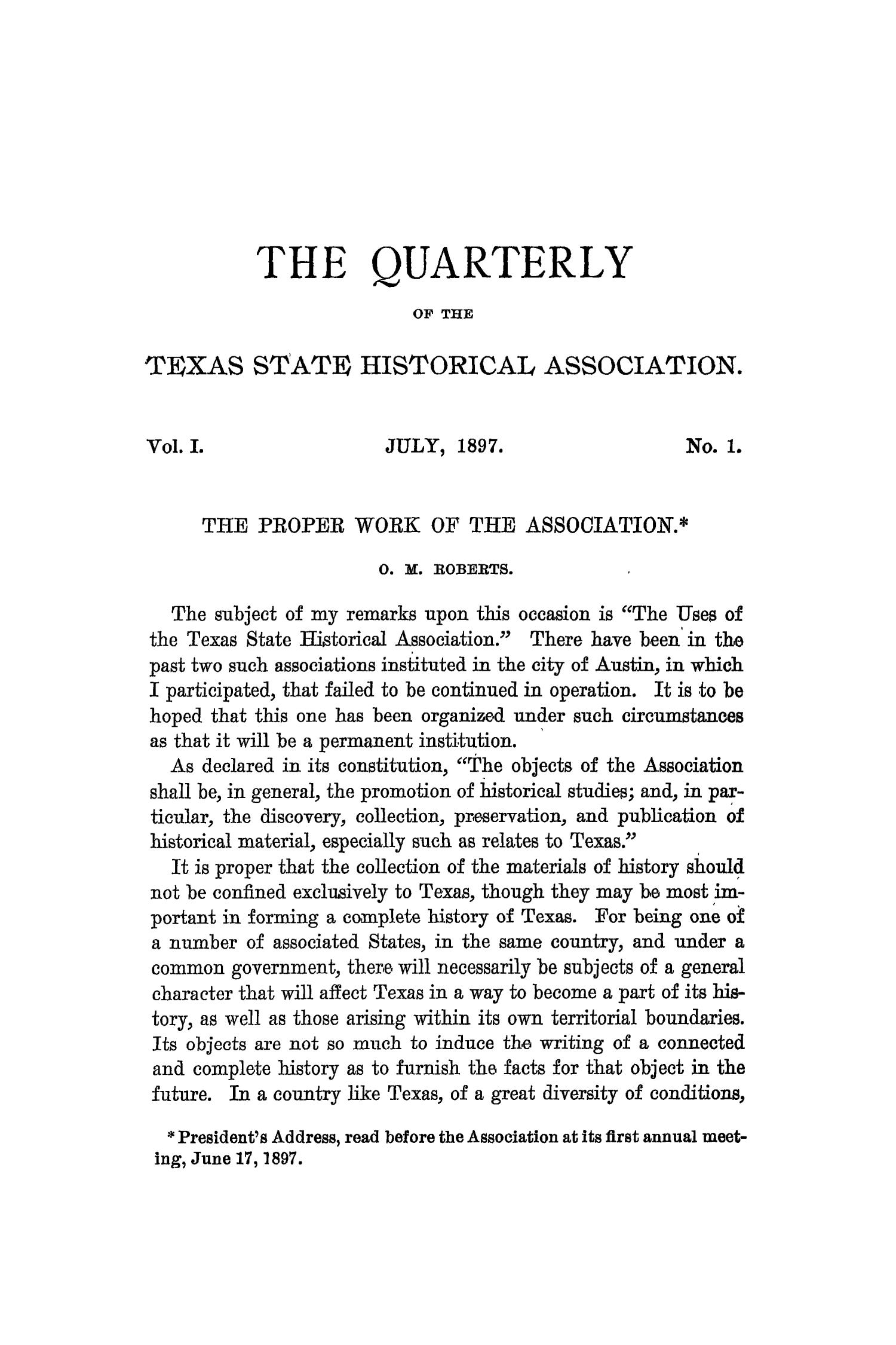 The Quarterly of the Texas State Historical Association, Volume 1, July 1897 - April, 1898                                                                                                      3