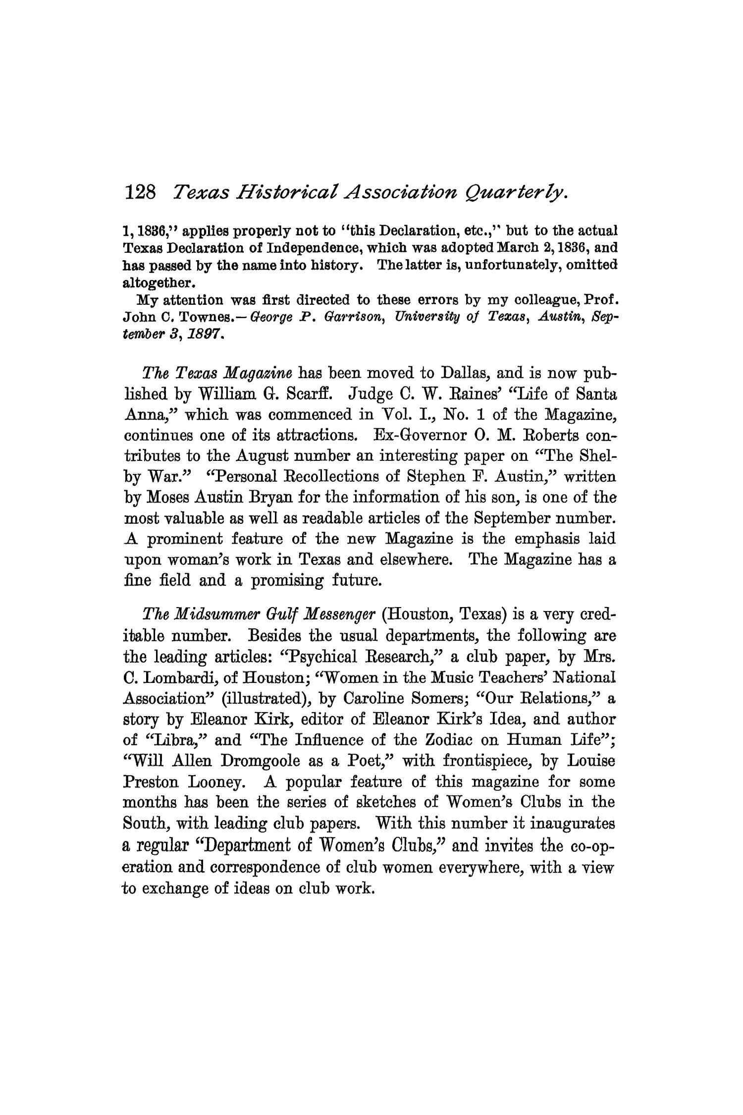 The Quarterly of the Texas State Historical Association, Volume 1, July 1897 - April, 1898                                                                                                      128