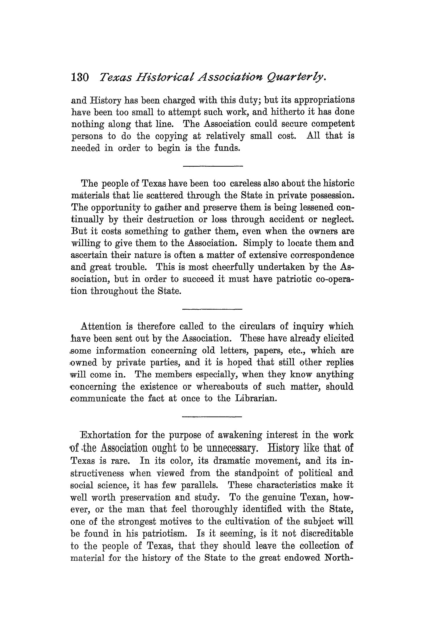 The Quarterly of the Texas State Historical Association, Volume 1, July 1897 - April, 1898                                                                                                      130