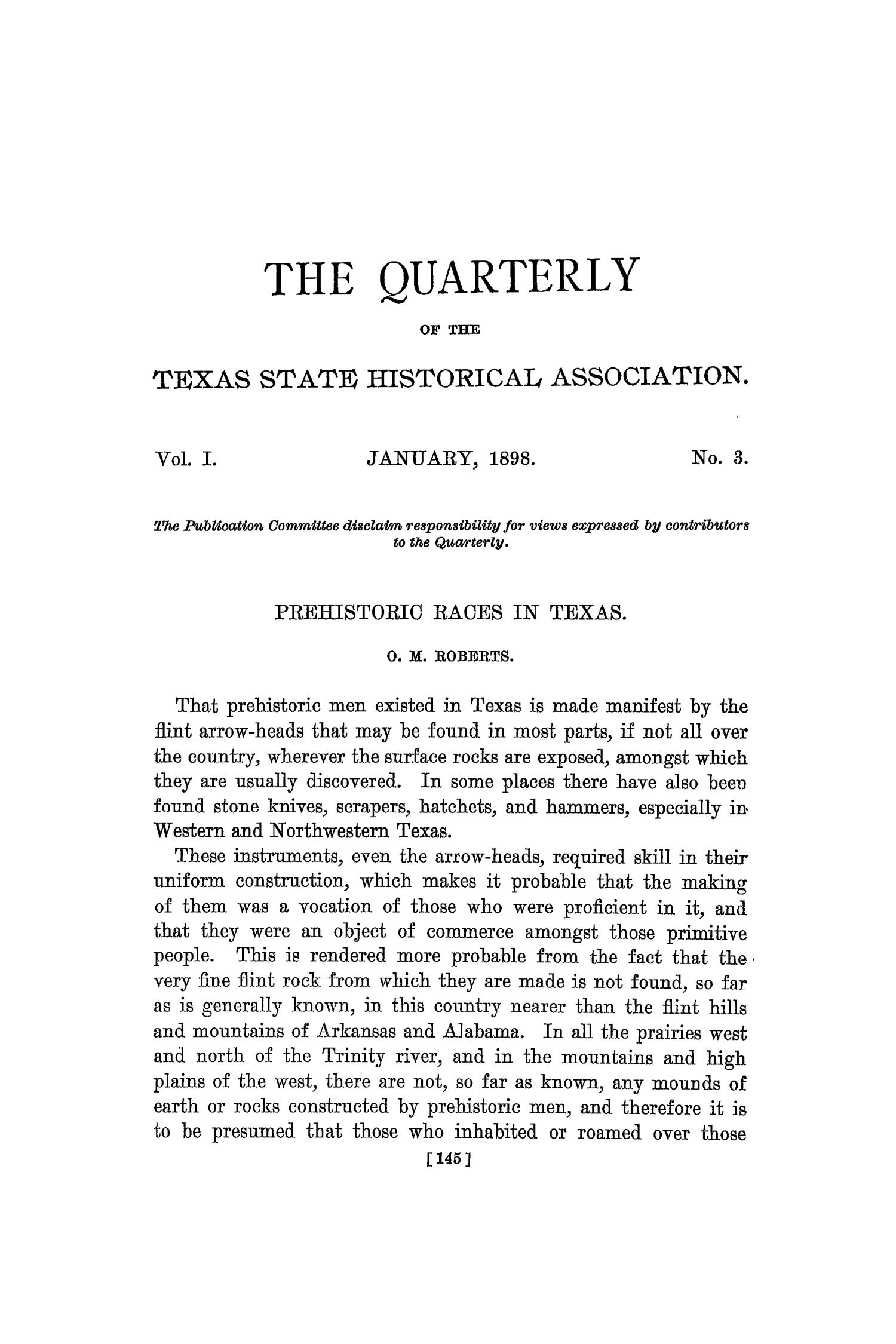 The Quarterly of the Texas State Historical Association, Volume 1, July 1897 - April, 1898                                                                                                      145