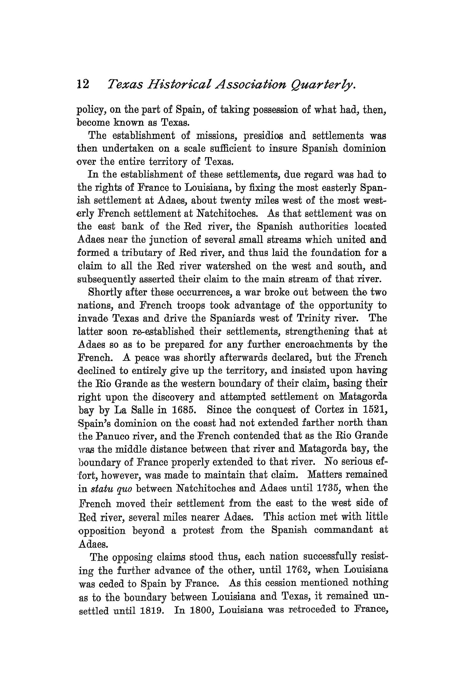 The Quarterly of the Texas State Historical Association, Volume 1, July 1897 - April, 1898                                                                                                      12