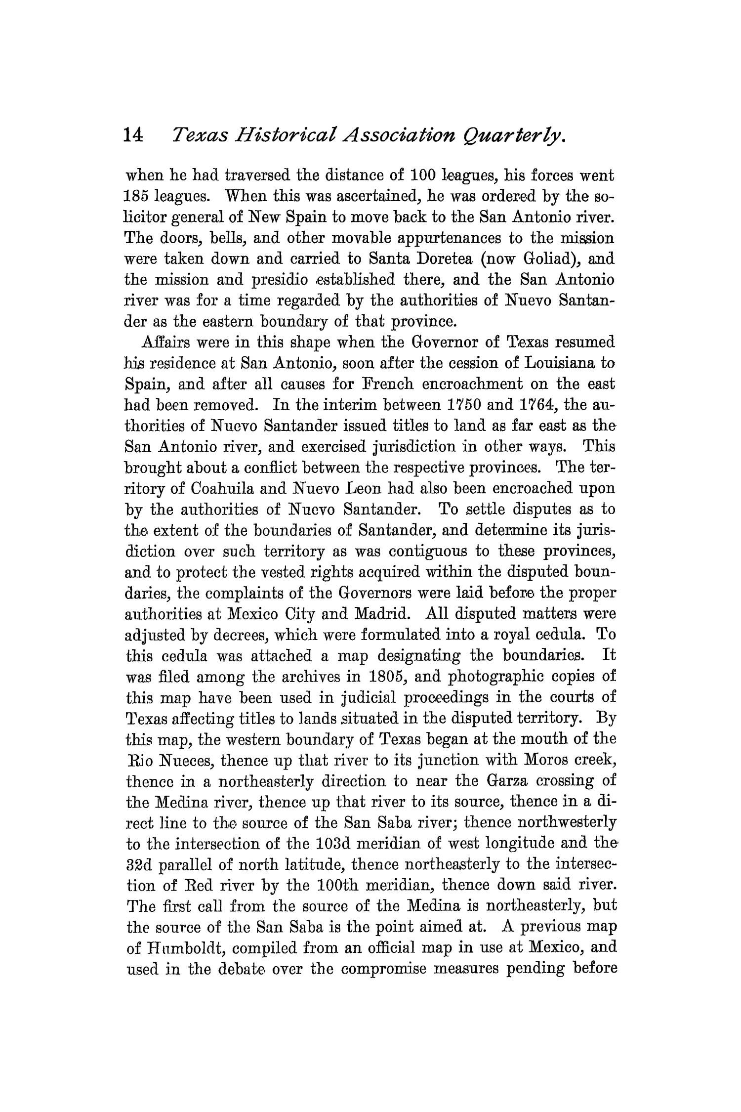 The Quarterly of the Texas State Historical Association, Volume 1, July 1897 - April, 1898                                                                                                      14