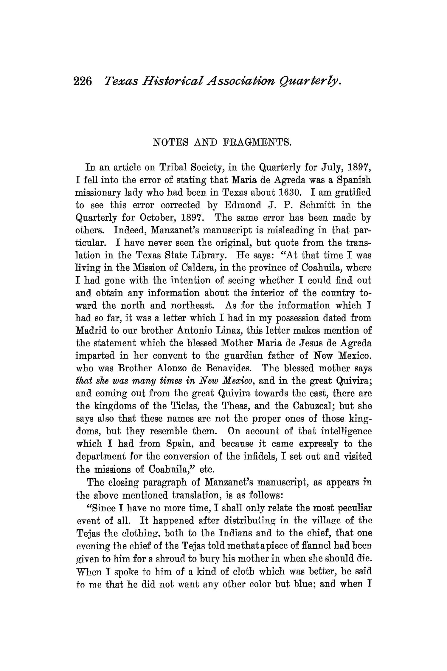 The Quarterly of the Texas State Historical Association, Volume 1, July 1897 - April, 1898                                                                                                      226