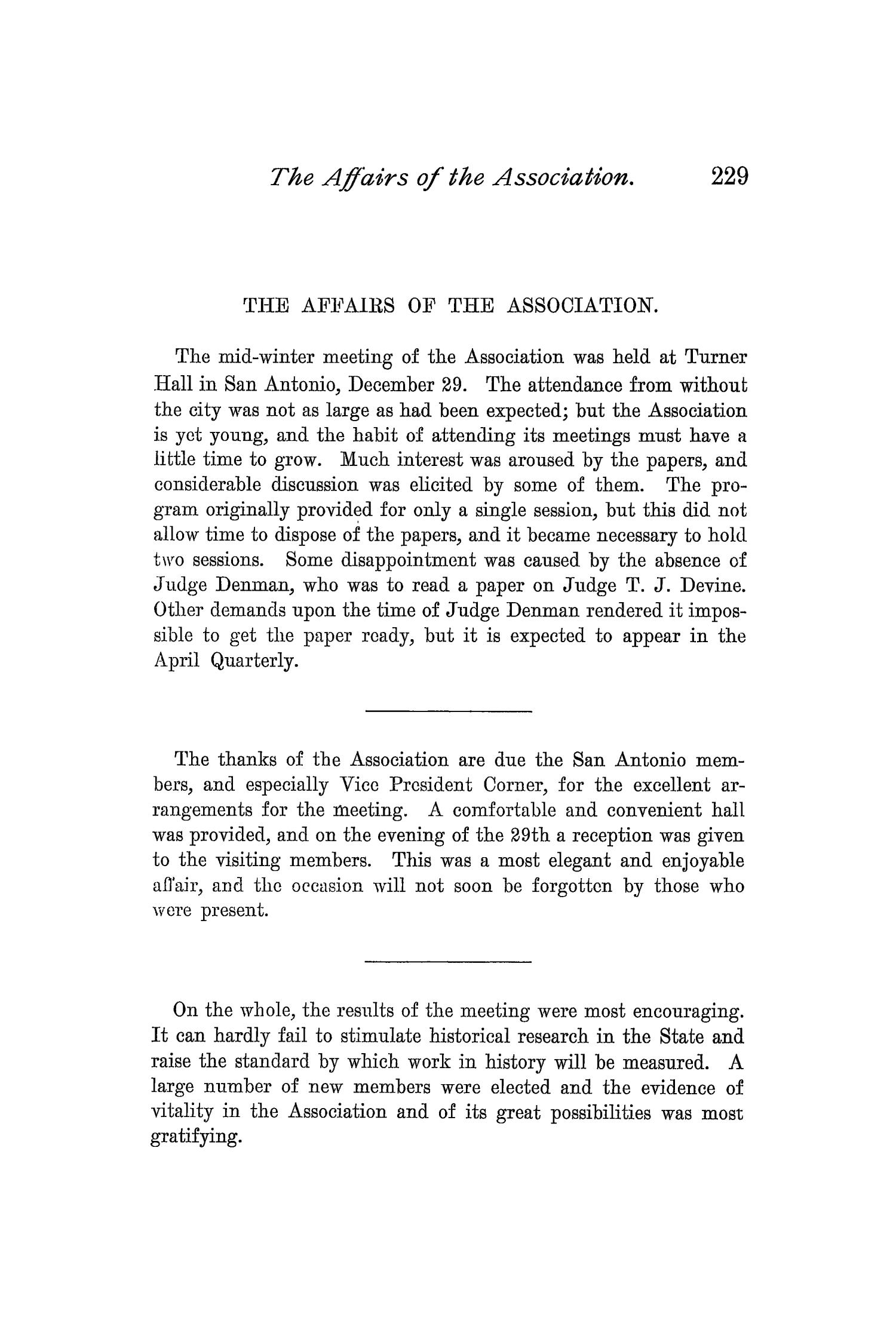 The Quarterly of the Texas State Historical Association, Volume 1, July 1897 - April, 1898                                                                                                      229