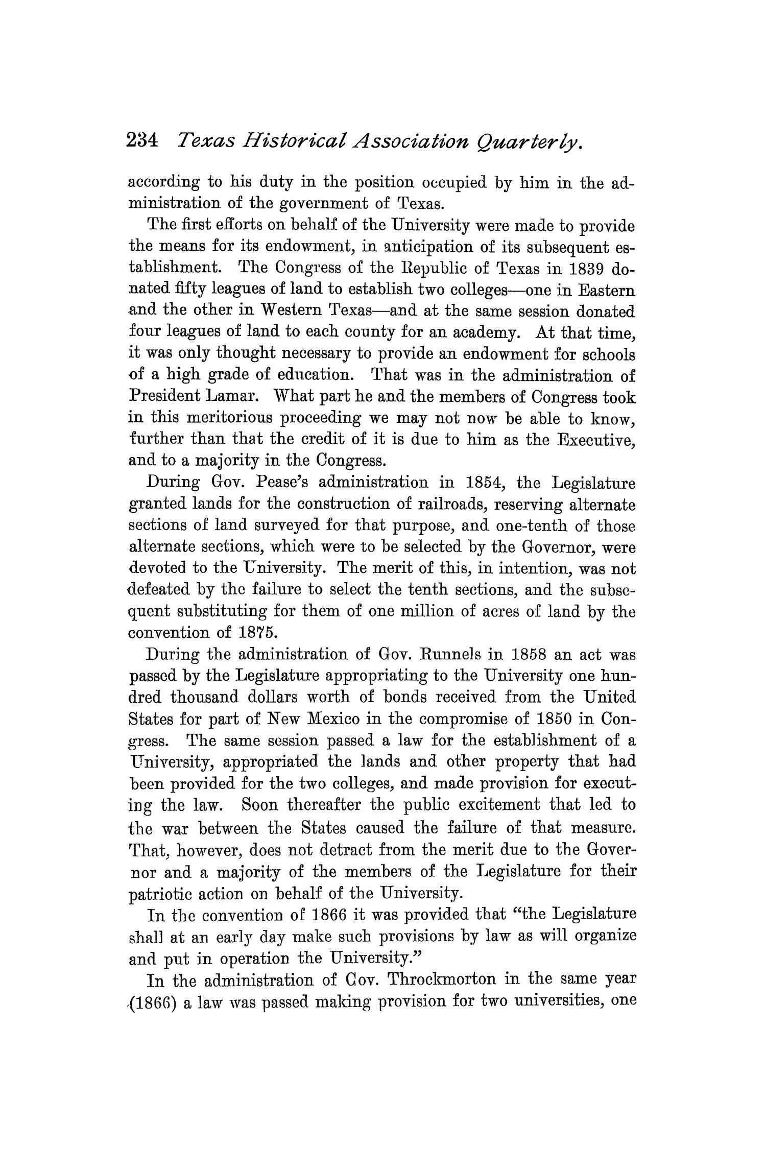 The Quarterly of the Texas State Historical Association, Volume 1, July 1897 - April, 1898                                                                                                      234
