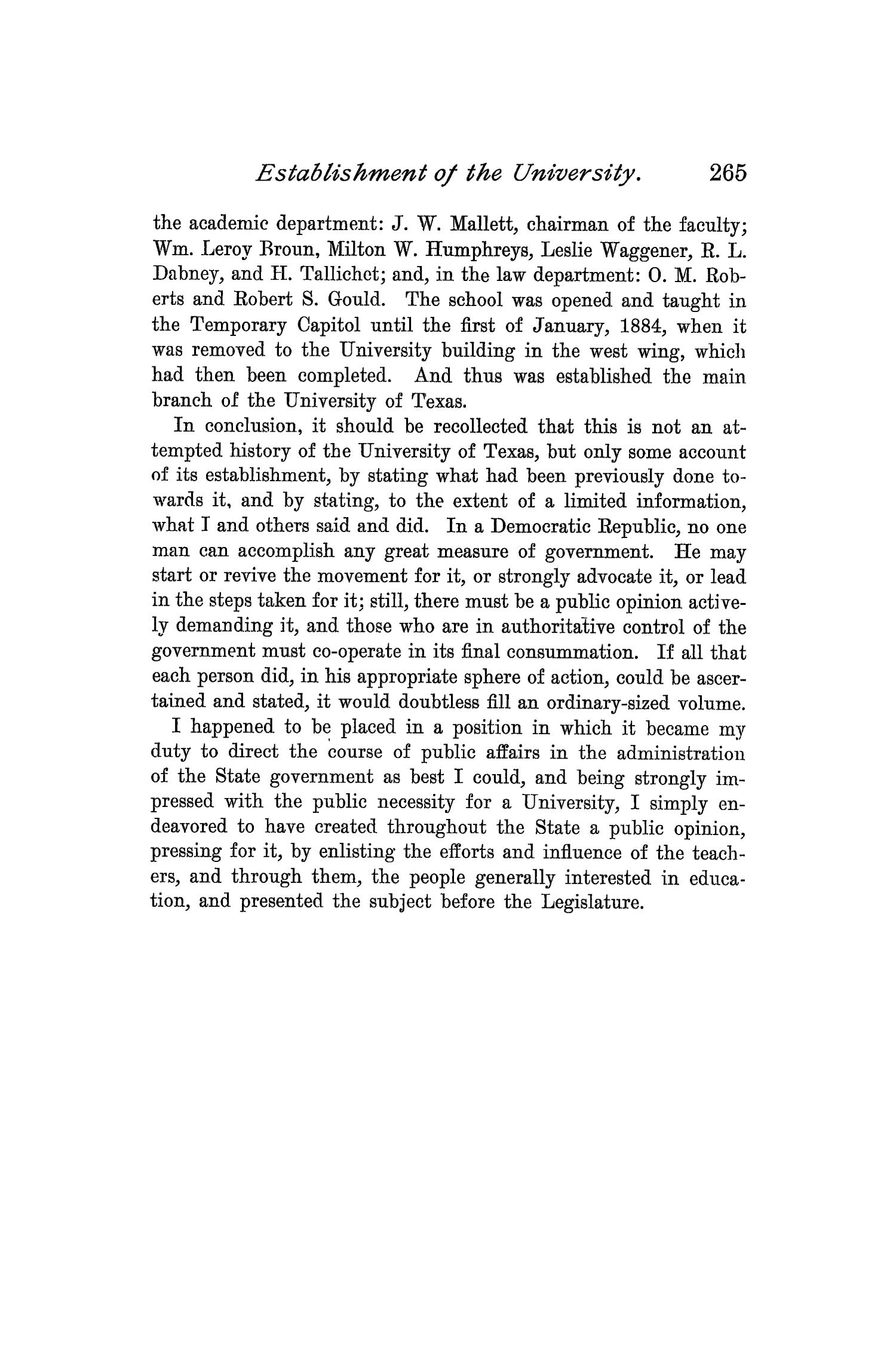 The Quarterly of the Texas State Historical Association, Volume 1, July 1897 - April, 1898                                                                                                      265