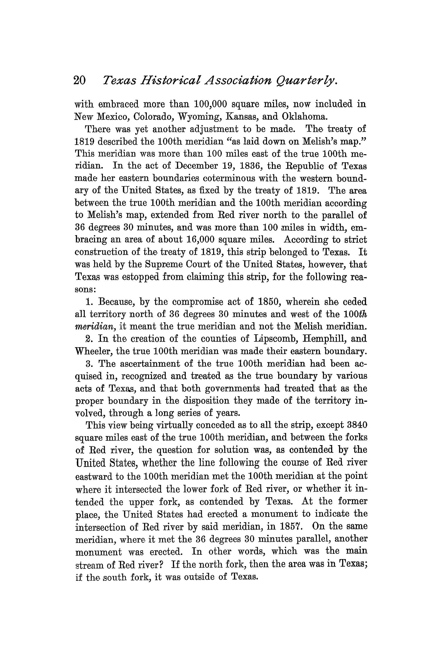 The Quarterly of the Texas State Historical Association, Volume 1, July 1897 - April, 1898                                                                                                      20