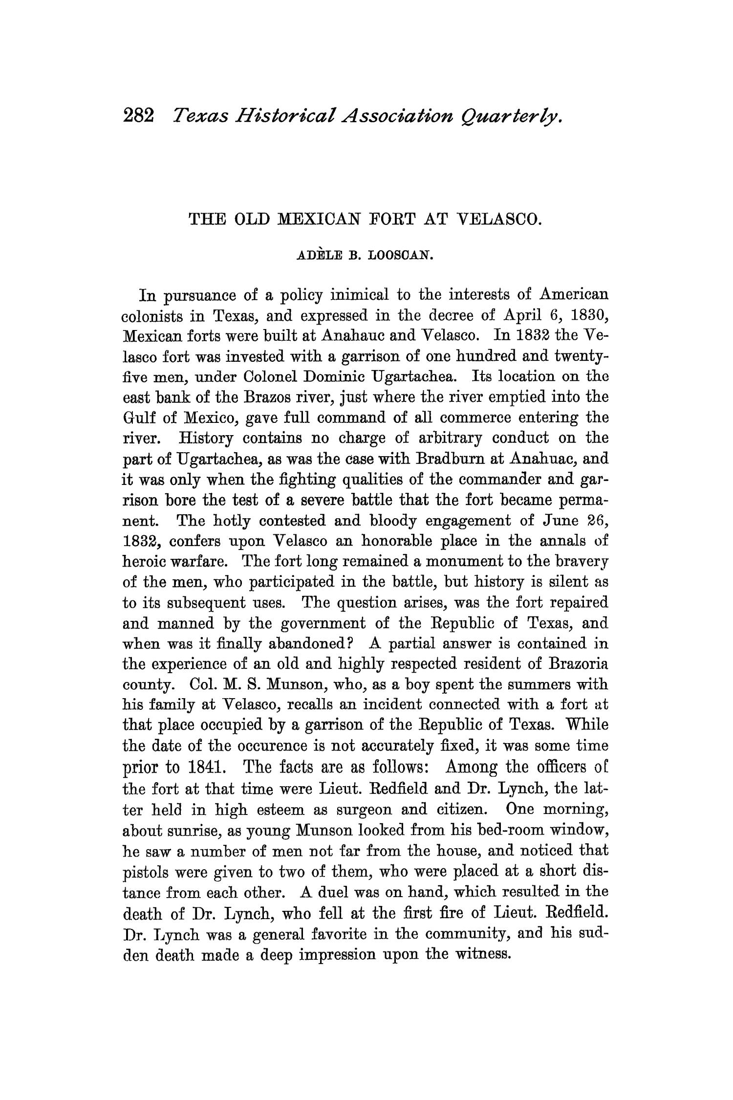 The Quarterly of the Texas State Historical Association, Volume 1, July 1897 - April, 1898                                                                                                      282