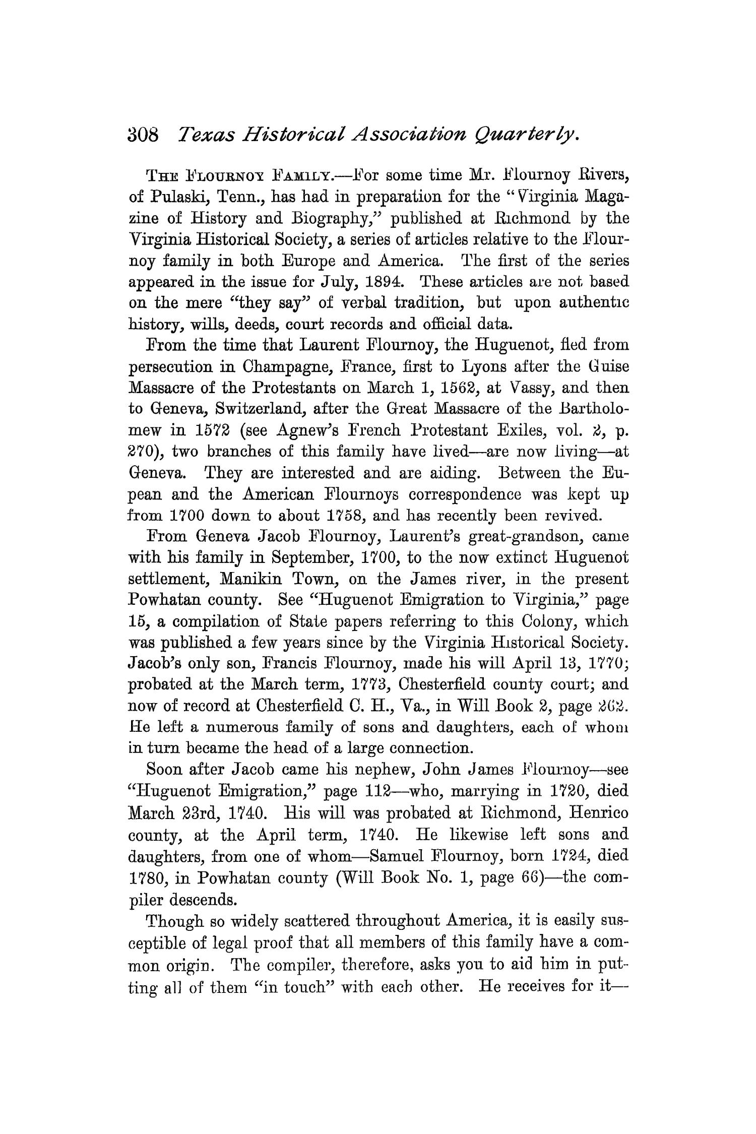 The Quarterly of the Texas State Historical Association, Volume 1, July 1897 - April, 1898                                                                                                      308