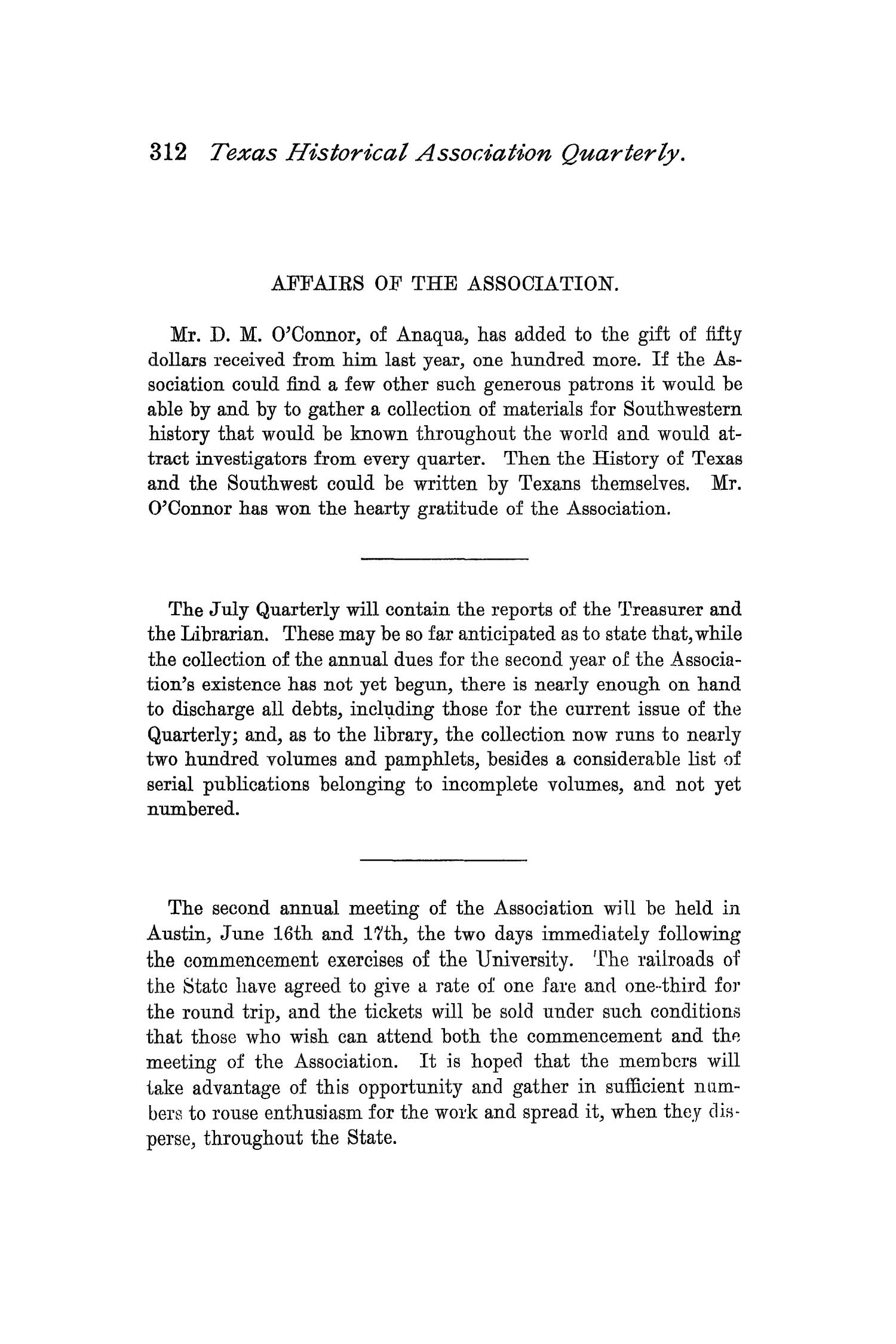 The Quarterly of the Texas State Historical Association, Volume 1, July 1897 - April, 1898                                                                                                      312