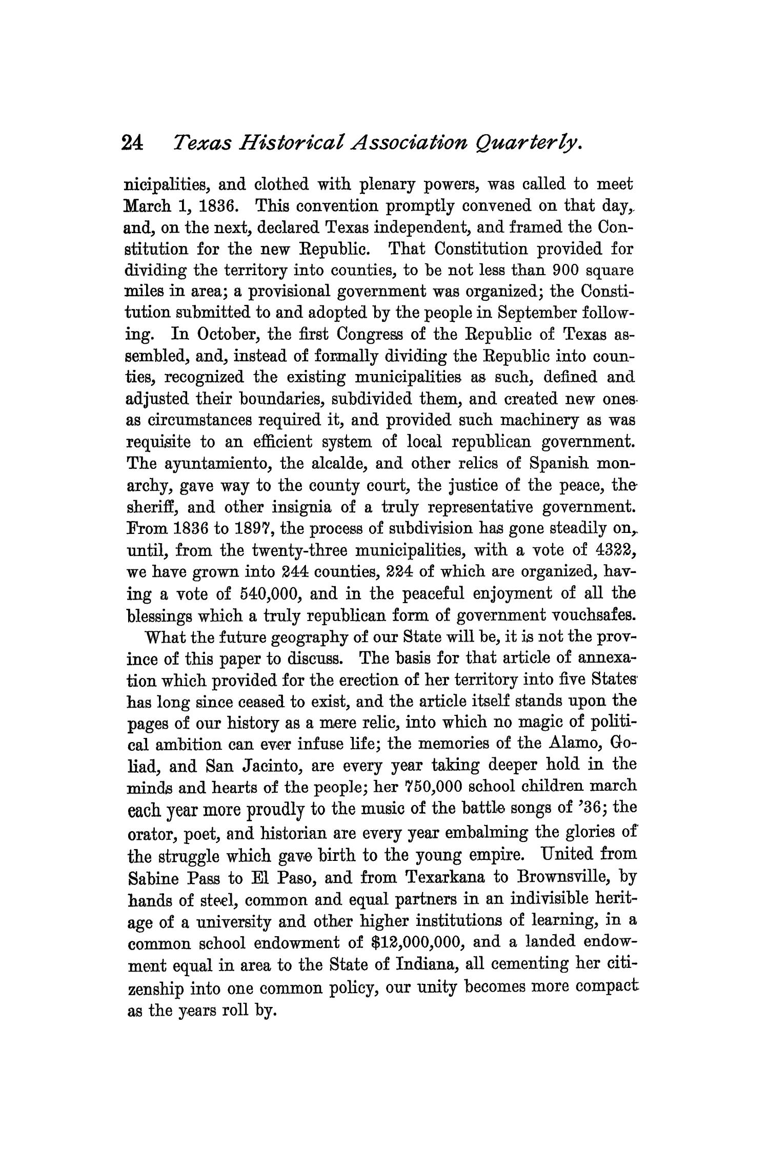 The Quarterly of the Texas State Historical Association, Volume 1, July 1897 - April, 1898                                                                                                      24