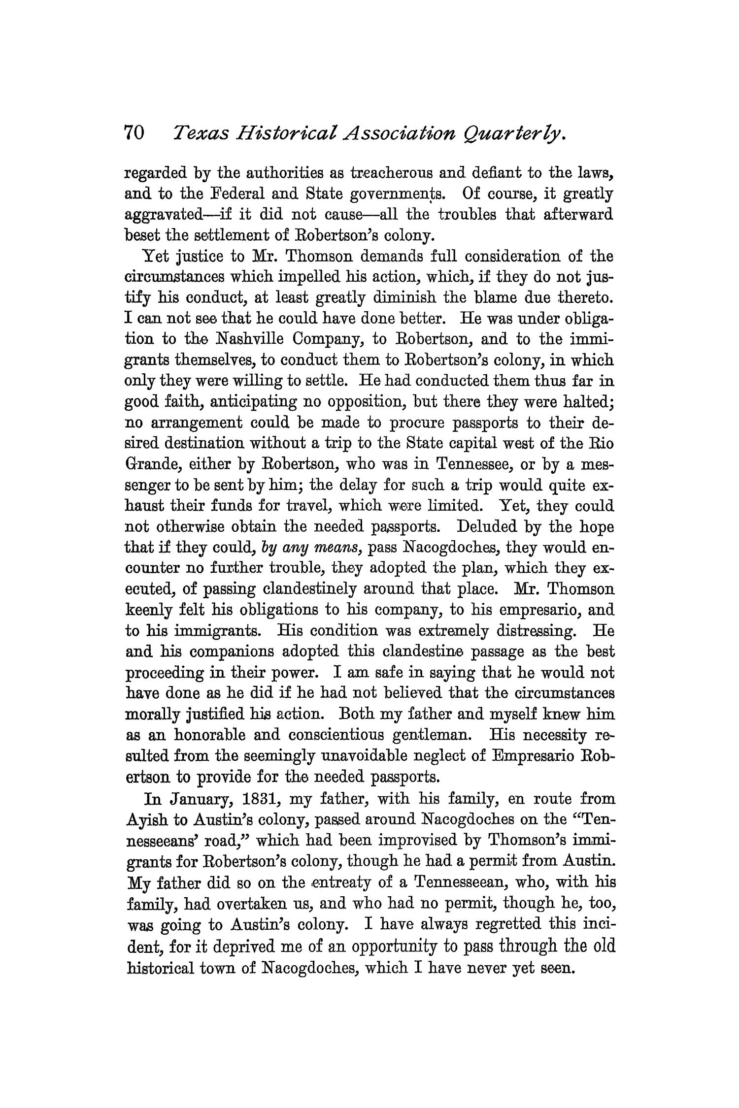 The Quarterly of the Texas State Historical Association, Volume 1, July 1897 - April, 1898                                                                                                      70