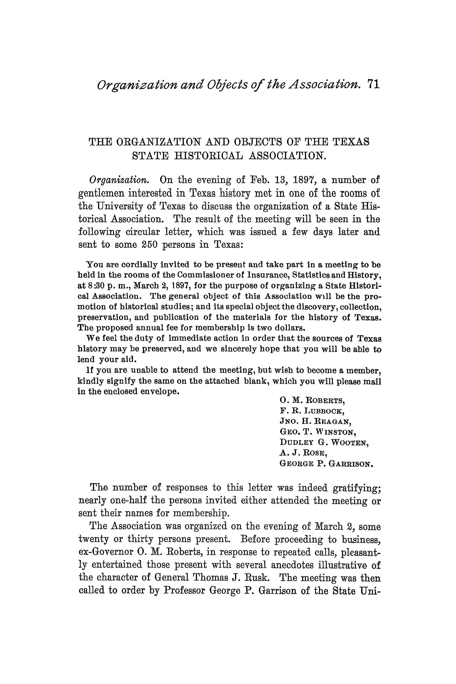The Quarterly of the Texas State Historical Association, Volume 1, July 1897 - April, 1898                                                                                                      71