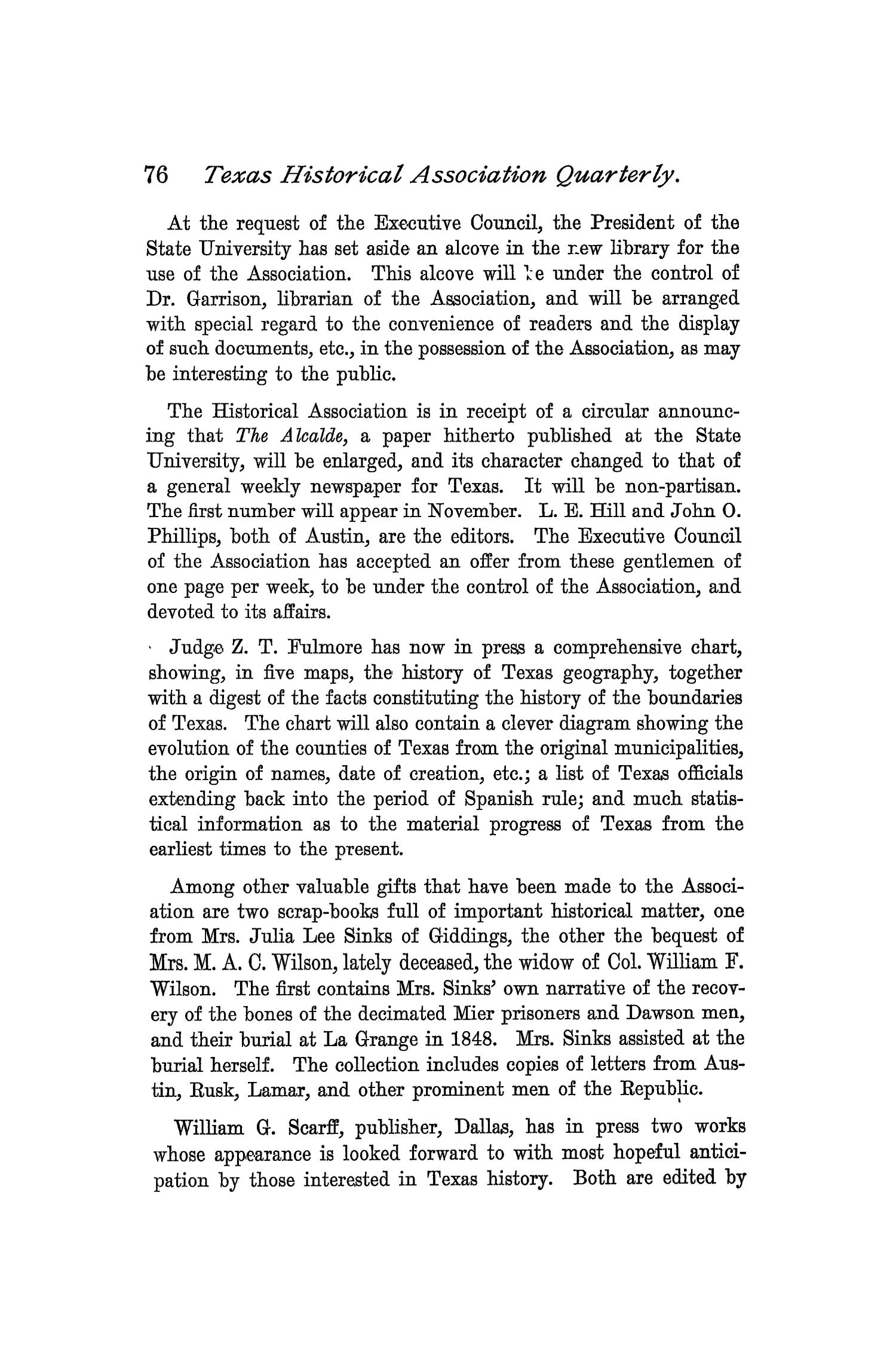 The Quarterly of the Texas State Historical Association, Volume 1, July 1897 - April, 1898                                                                                                      76
