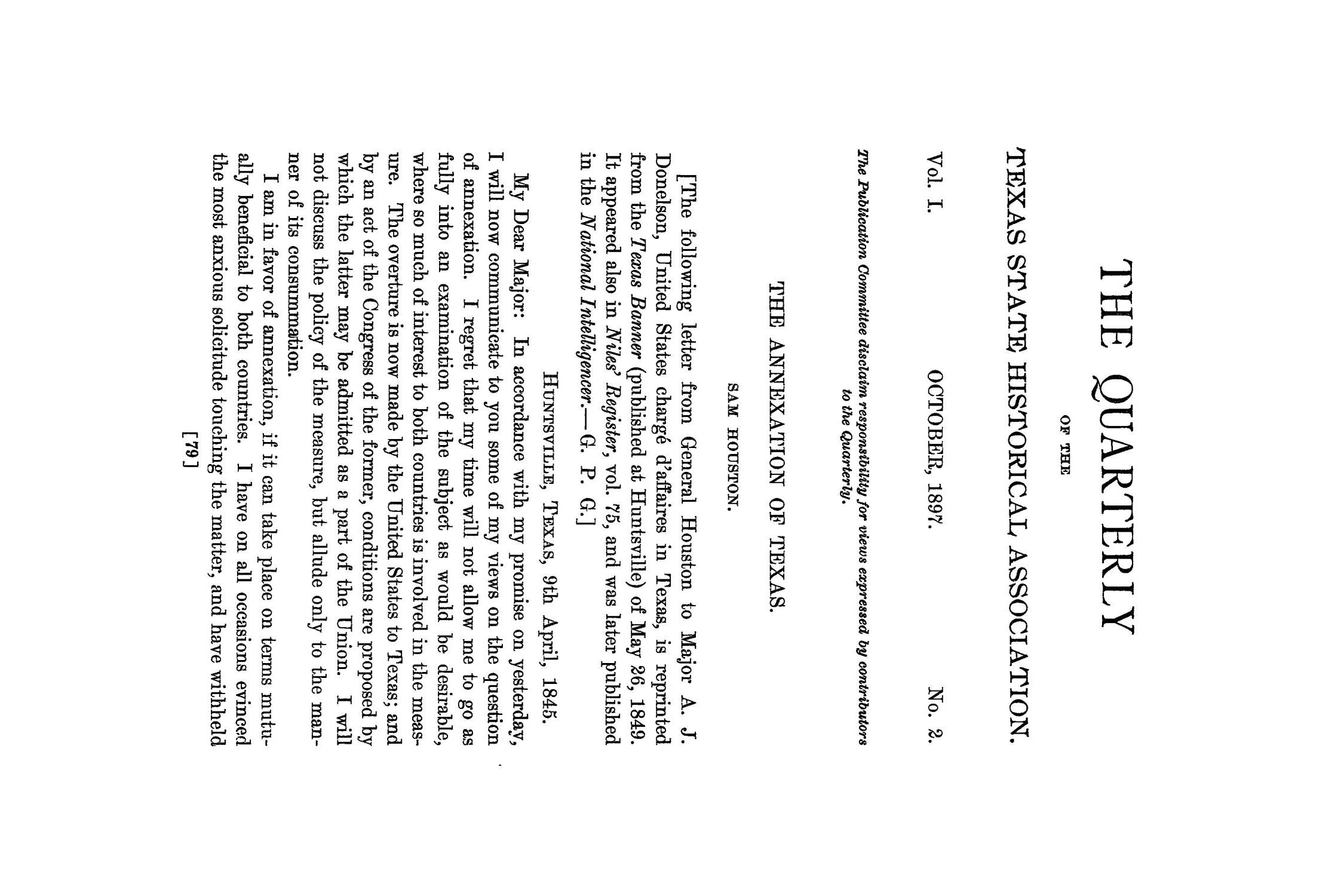 The Quarterly of the Texas State Historical Association, Volume 1, July 1897 - April, 1898                                                                                                      79