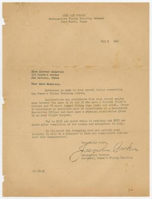 Primary view of object titled '[Letter from Jacqueline Cochran to Eleanor McLernon, February 3, 1943]'.