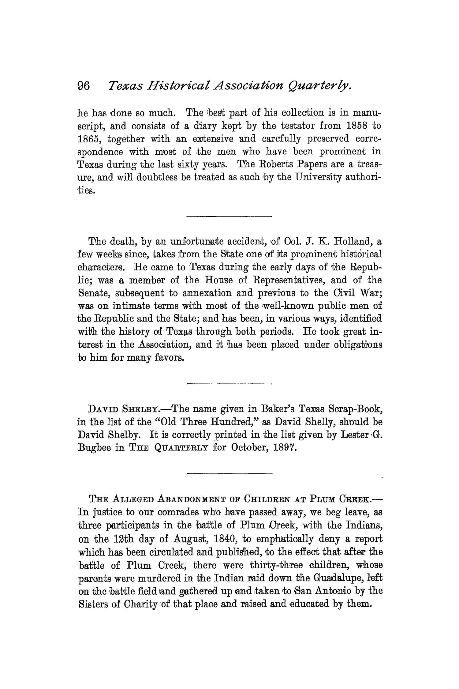 The Quarterly of the Texas State Historical Association, Volume 2, July 1898 - April, 1899                                                                                                      96