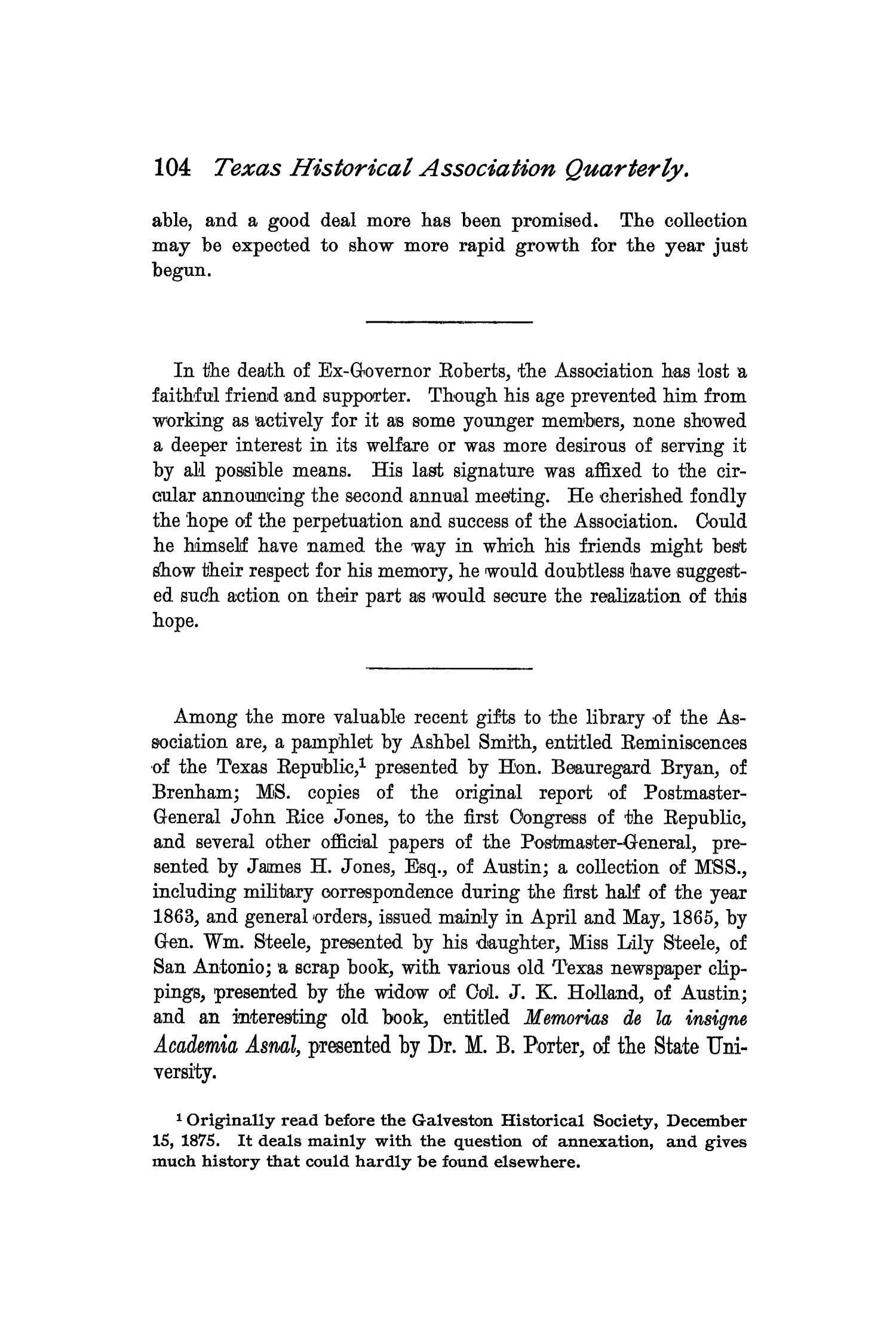 The Quarterly of the Texas State Historical Association, Volume 2, July 1898 - April, 1899                                                                                                      104
