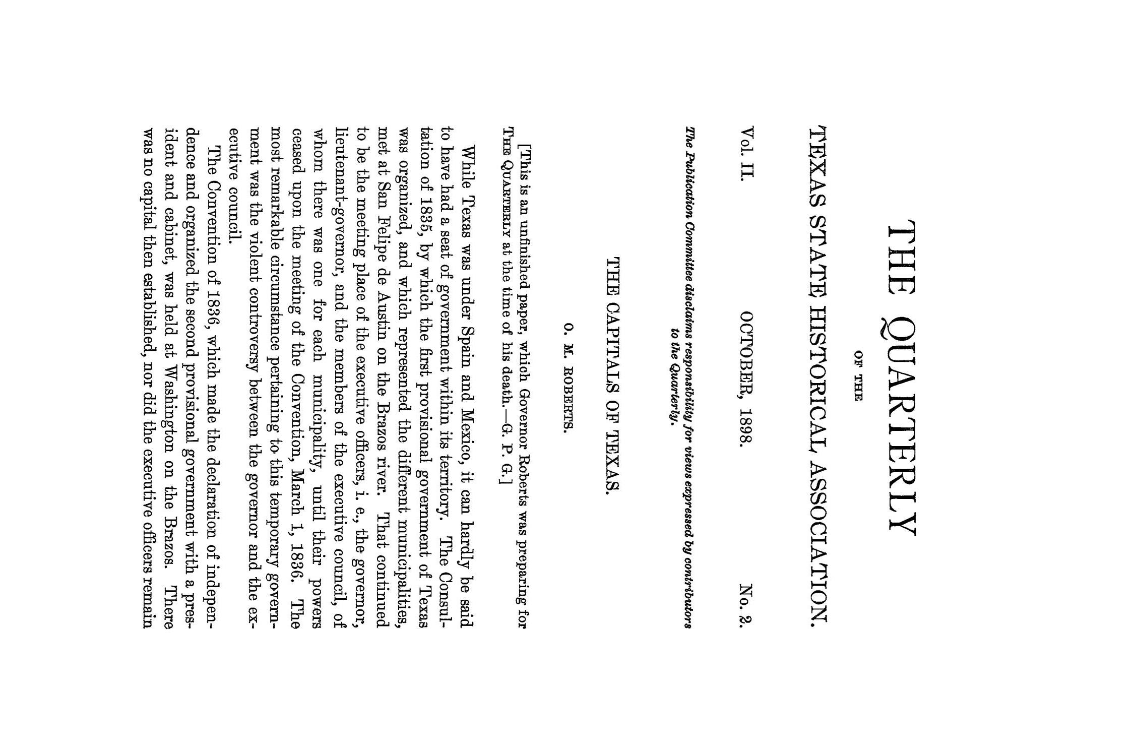 The Quarterly of the Texas State Historical Association, Volume 2, July 1898 - April, 1899                                                                                                      117
