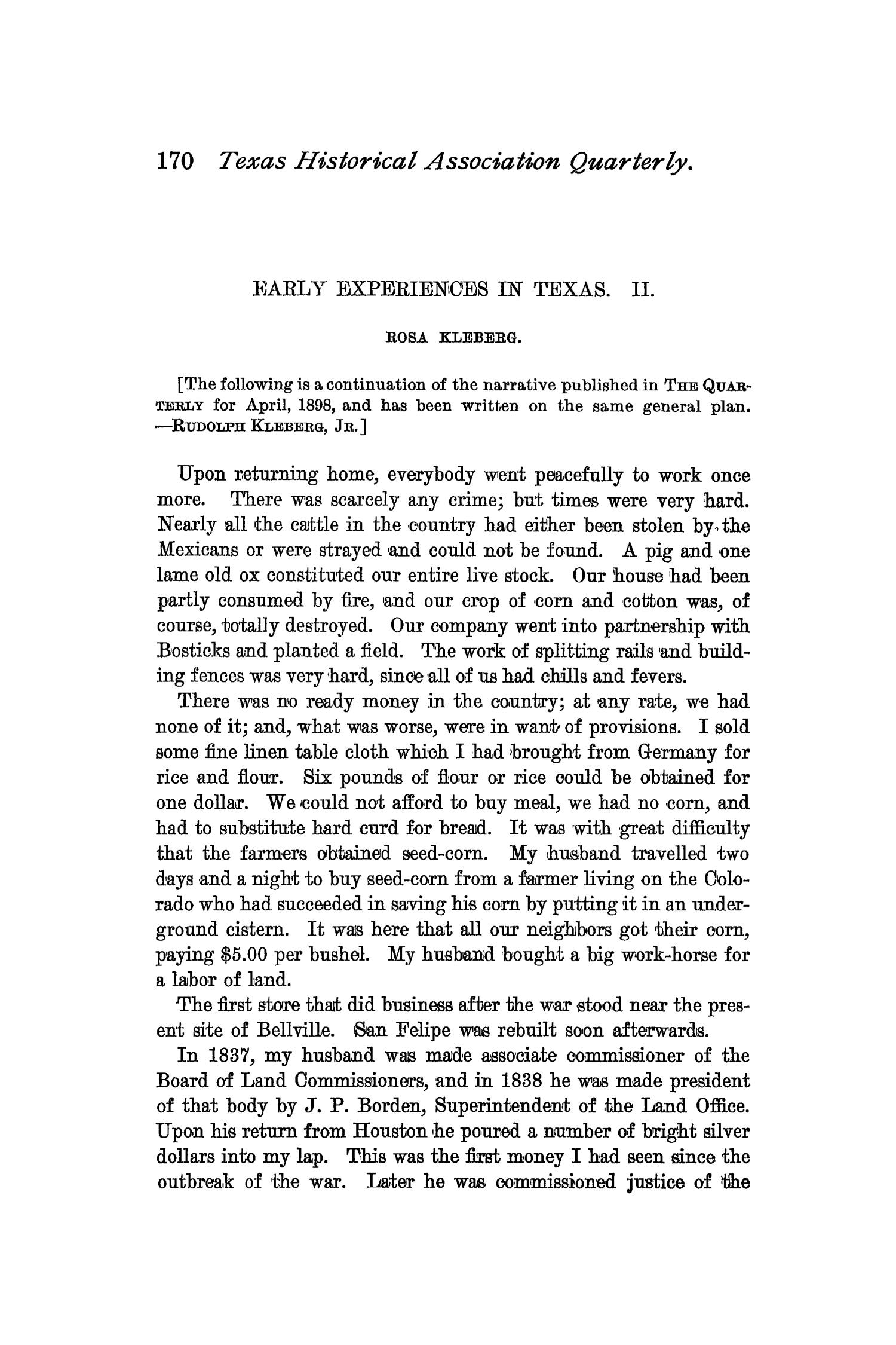 The Quarterly of the Texas State Historical Association, Volume 2, July 1898 - April, 1899                                                                                                      170