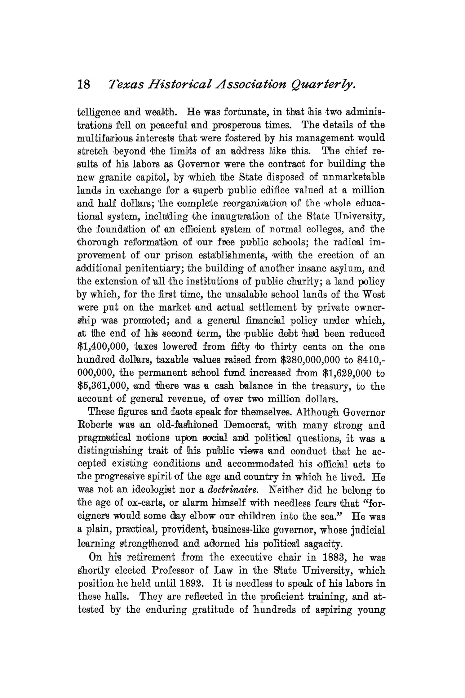 The Quarterly of the Texas State Historical Association, Volume 2, July 1898 - April, 1899                                                                                                      18