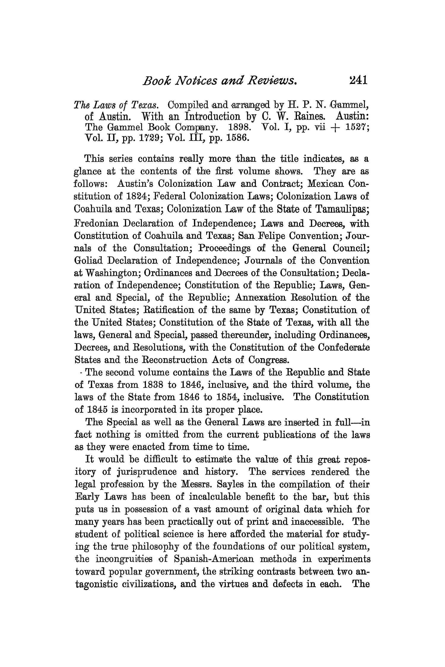 The Quarterly of the Texas State Historical Association, Volume 2, July 1898 - April, 1899                                                                                                      241